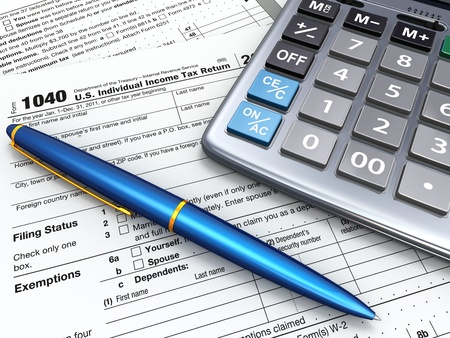financial item: Tax Return 1040, calculator and pencil on white background  3d
