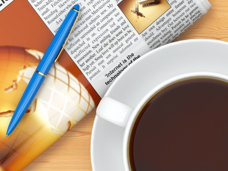 Coffee cup,  newspaper and pen on table  3d Stock Photo - 18952343