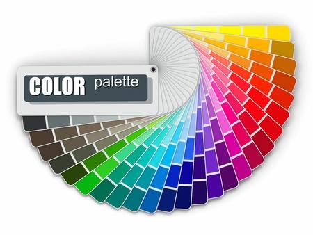 color fan: Color palette guide on white background  3d