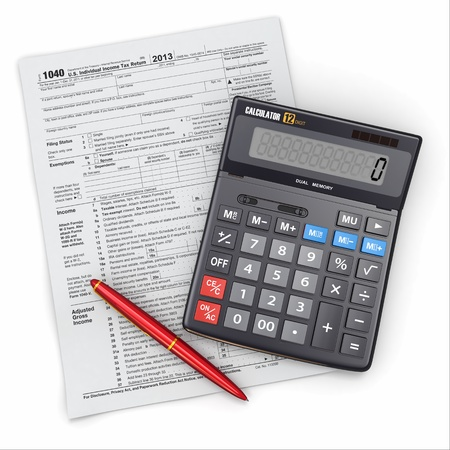 cpa: Tax Return 1040, calculator and pencil on white background  3d