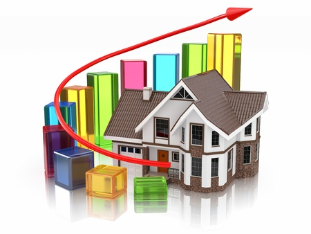 Growth of real estate market House and graph  3d photo