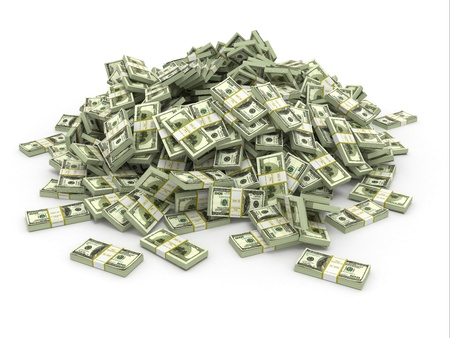 cash money: D�lares. Pila de paquetes de dinero. 3d