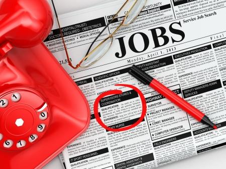 competencias laborales: B�squeda de empleo. Peri�dico con Advertisments, gafas y tel�fono. 3d Foto de archivo