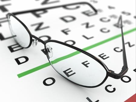eye exam: Eyeglasses and eye chart. Three-dimensional image with dof.