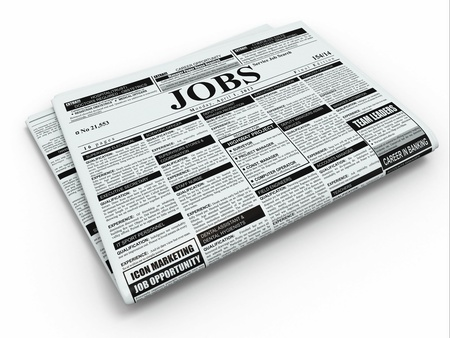 employment issues: Search job  Newspaper with advertisments on white isolated background  3d Stock Photo