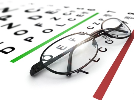 opthalmology: Eyeglasses and eye chart  Three-dimensional image with dof  Stock Photo