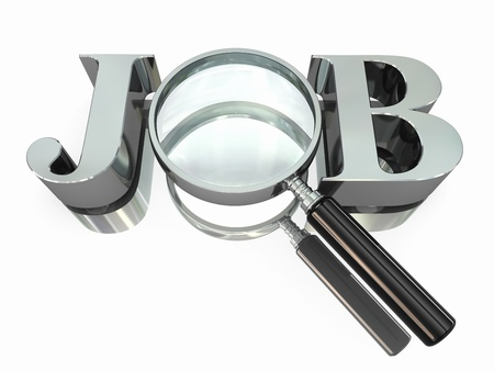 job search: Job search  Text with loupe on white background  3d