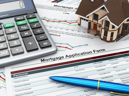 Mortgage application form with a calculator and house  3d photo