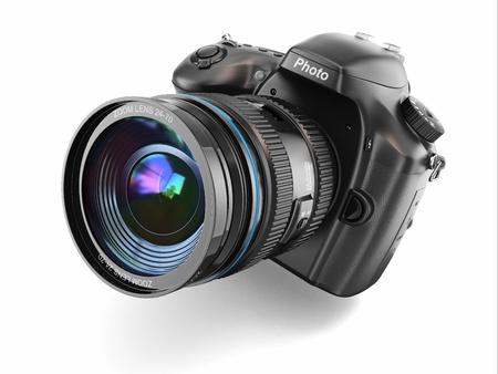 Digitale fotocamera op witte geïsoleerde achtergrond 3D Stockfoto