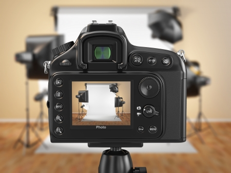 Digital camera in studio with softbox and flashes  3d photo