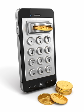 payphone: Mobile phone payment  Payphone keyboartd and coins  3d