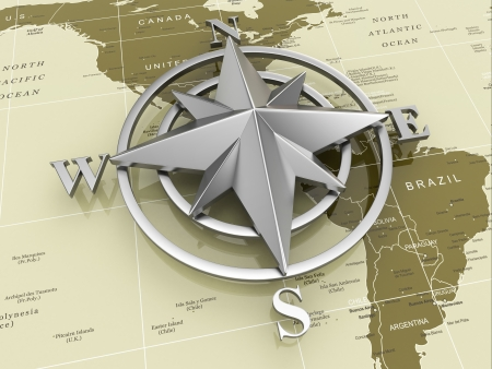 north star: Navigation sign or compass on political map  3d