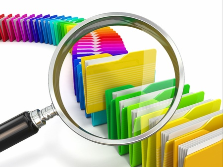 Files search  Folders and loupe on white background  3d Stock Photo - 19750820