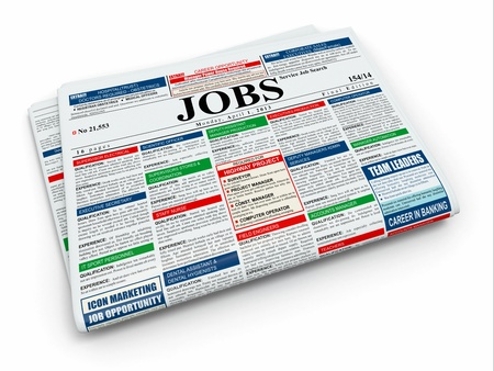 classified: Search job  Newspaper with advertisments on white isolated background  3d Stock Photo