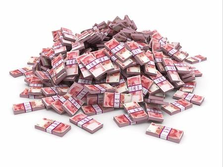 money packs: Yuan  Pile from packs of money  3d