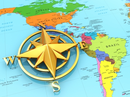 Navigation sign or compass on political map  3d photo