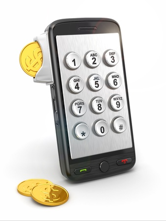 keypad: Mobile phone payment  Payphone keyboartd and coins  3d