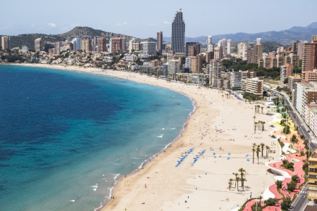 sun s: Hotels and beach of Benidorm  Sky and sea  Photo