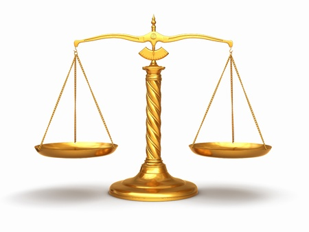 legal system: Gold scales on white isolated background