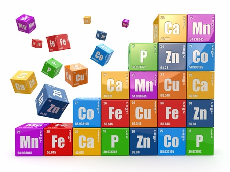 chemistry class: Wall from cubes with periodic table of element Stock Photo