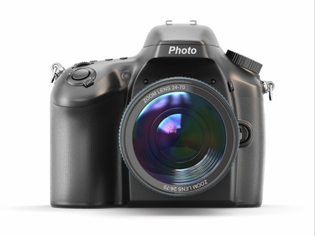 Digital photo camera on white isolated background Banco de Imagens