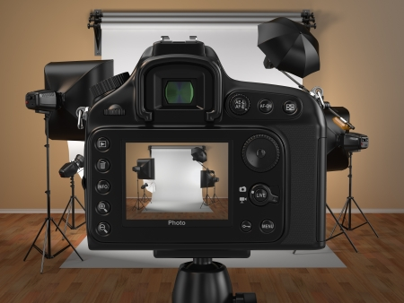 Digital photo camera in studio with soft box and flashes