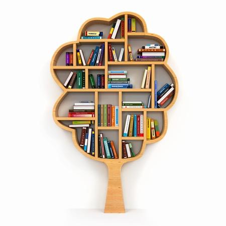 allegory: Bookshelf on white background Stock Photo