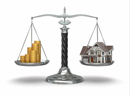 Huis en geld op schaal