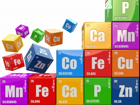periodic: Wall from cubes with periodic table of element Stock Photo