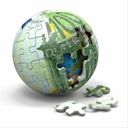 ?    ?    ?    ? ¡mbito: Euro esfera de rompecabezas Foto de archivo