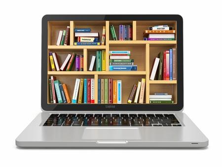 Biblioteca de la educación o de Internet E-learning Foto de archivo - 20622596