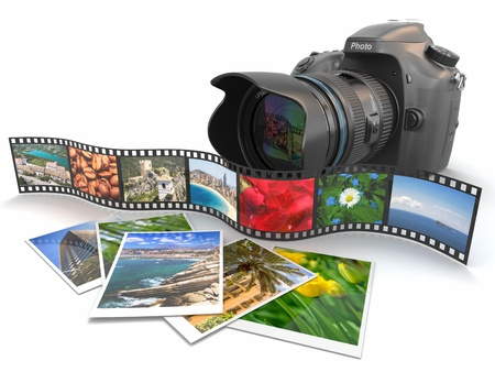 photography themes: Photography. Slr camera, film and photos. 3d Stock Photo