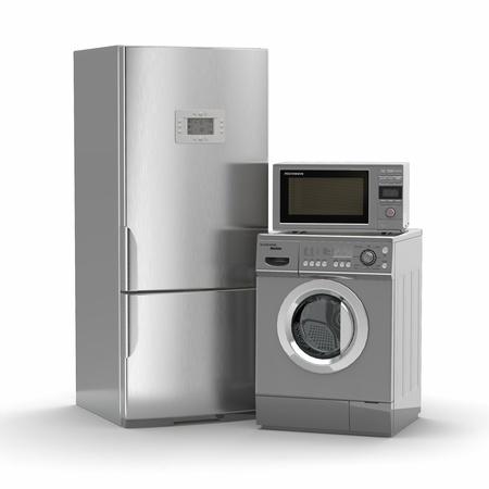 Haushaltsgeräte. Kühlschrank, Mikrowelle und Waschmaschine maching. 3d Standard-Bild - 20863590