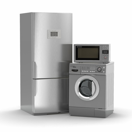 Home appliances. Refrigerator, microwave and  washing maching. 3d photo