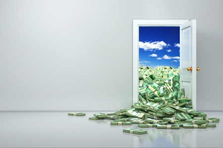 door sign: Concept of wealth. Opening euro and heap dollar. 3d