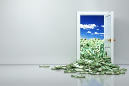 abriendo puerta: Concepto de la riqueza. Apertura del euro y el dólar montón. 3d Foto de archivo
