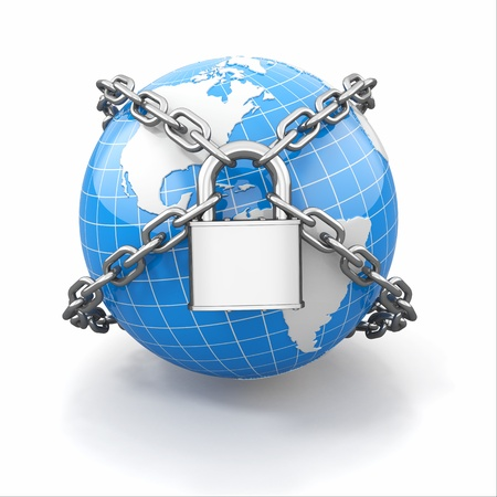 Internet security comcept. Earth and lock on white isolated background. 3d photo