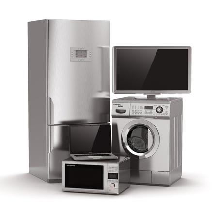 objetos de la casa: Electrodom�sticos. TV, nevera, microondas, ordenador port�til y lavado maching. 3d Foto de archivo