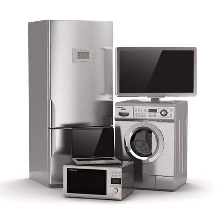 gospodarstwo domowe: Sprzęt gospodarstwa domowego. Telewizor, lodówka, kuchenka mikrofalowa, laptop i mycie maching. 3d Zdjęcie Seryjne