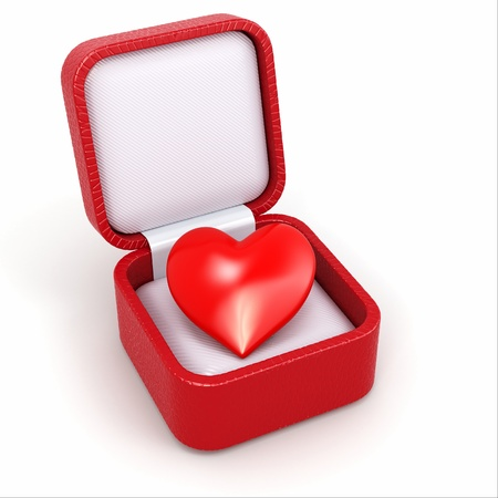 Haert in gift box. Concept of love. 3d photo