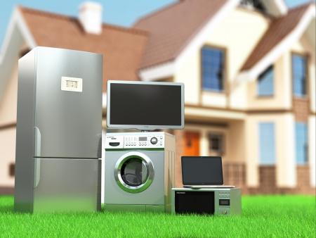 家庭電化製品。テレビ、冷蔵庫、電子レンジ、ノート パソコン、洗濯機械加工。3 d