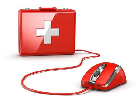 Online first aid. Mose and medical kit. 3d photo