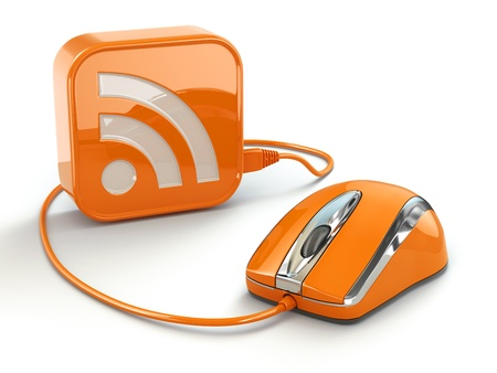 rss feed icon: Computer mouse and rss sign. Three-dimensional concept. 3d Stock Photo