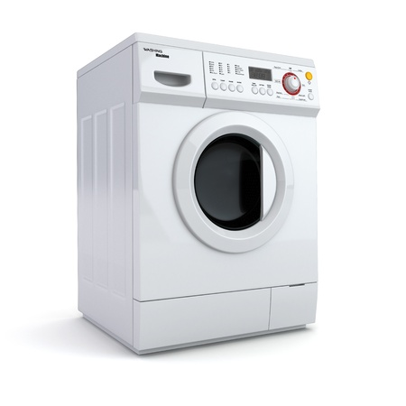 Washing machine on white isolated background. 3d photo