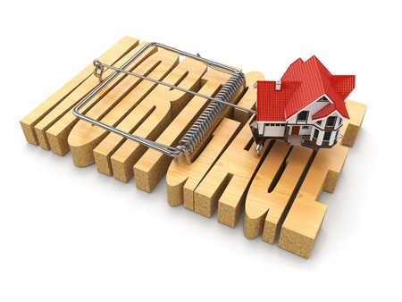 mousetrap: Concept of mortgage. House and mousetrap. 3d