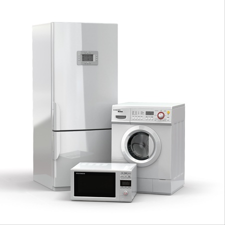 freezer: Home appliances. Refrigerator, microwave and  washing maching. 3d