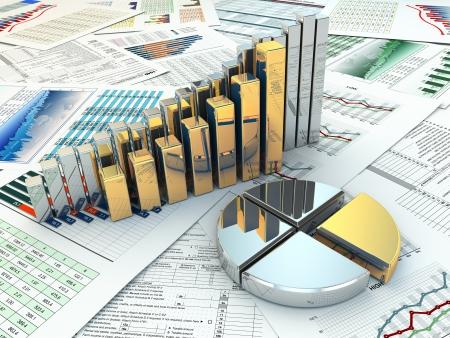 ビジネス コンセプトです。三次元グラフとグラフ。3 d