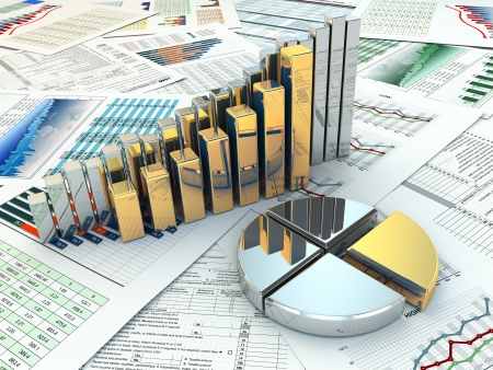 Business concept. Three-dimensional graph and charts. 3d Stock Photo