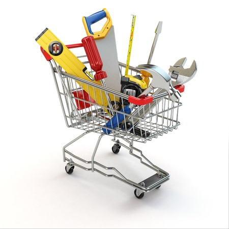 E-commerce. Tools and shopping cart on white isolated background. 3d photo