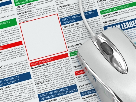 Search a job. Concept of recruitment. Newspaper with  empty frame. 3d photo